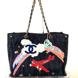 Chanel Denim Embroidered Airplane Tote Bag
